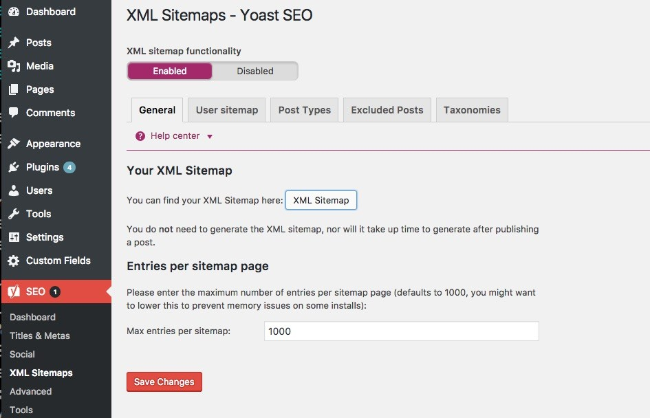 Yoast SEO makes the generation of a sitemap really easy
